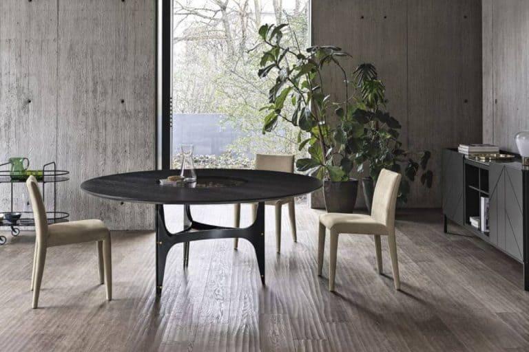 Universe: Tavolo rotondo fisso con struttura e dettagli decorativi in acciaio laccato - Bontempi Casa