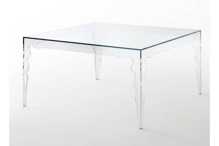 Jabot: tavolo quadrato in cristallo trasparente - Glas Italia