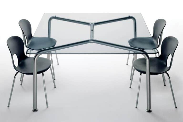 Convito: tavolo in cristallo temperato con base in acciaio inox - Rexite