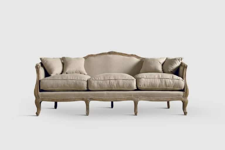 DB001254: divano 3 posti con struttura in Rovere finitura e rivestimento in tessuto di lino - Dialma Brown