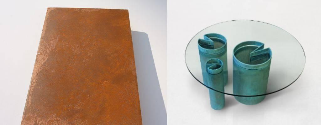 Vernice effetto ruggine chimica su Mdf ed effetto verderame su metallo